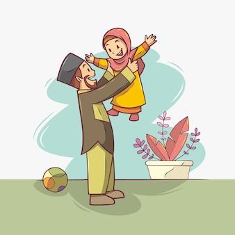 Un père tenant sa fille