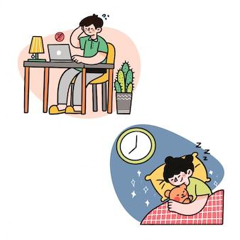 Père travaille dur pour le concept de famille doodle dessiné illustration image asset par arkana studio