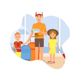Père voyageant avec des personnages fille et fils