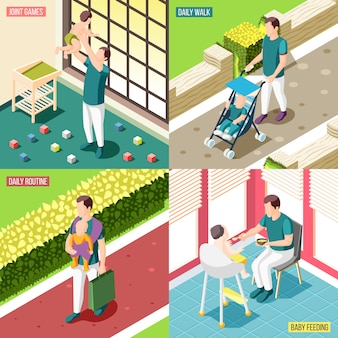 Pères en congé de maternité 2x2 concept design ensemble de routine quotidienne bébé alimentation jeux communs et promenades icônes carrées illustration isométrique