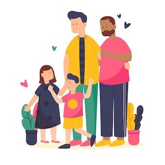 Pères heureux avec des enfants