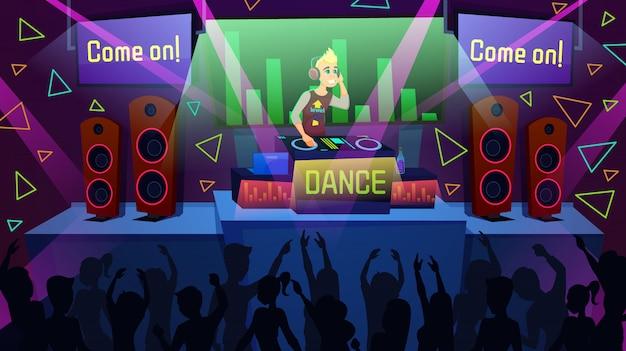 Performance dj dans la boîte de nuit cartoon vector concept