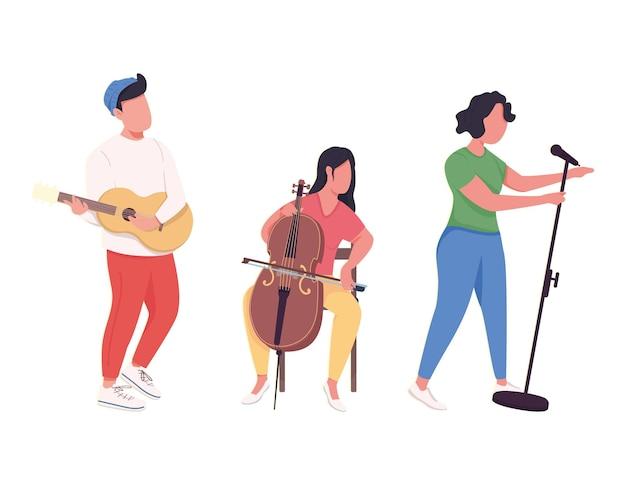 Performance de groupe de musique personnages sans visage de couleur plate