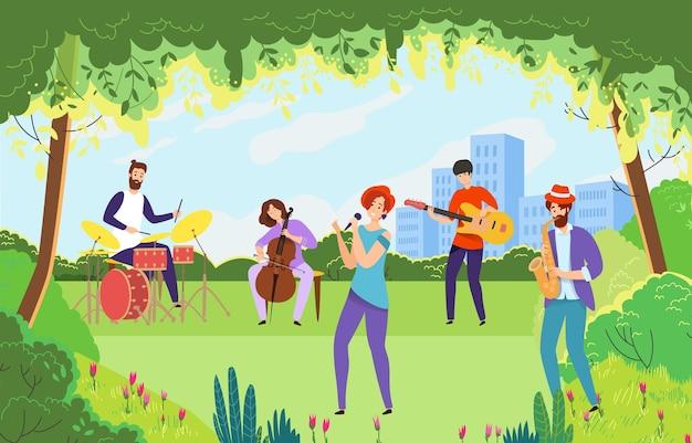 Performance Musicale Du Parc De Jardin Extérieur Vert De La Ville Créative Vecteur Premium