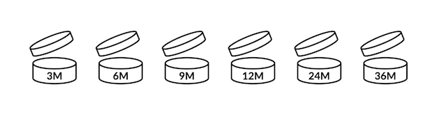 Période d'icônes pao après l'ouverture du logo mmmmmm vecteur signe cosmétique ouvert