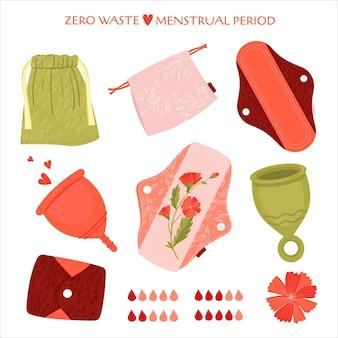Période menstruelle zéro déchet. ensemble plat avec des produits écologiques - serviettes hygiéniques réutilisables, tasse, sacs de recyclage de coton.