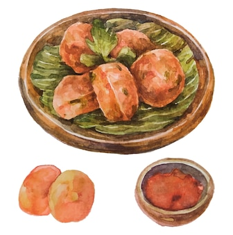 Perkedel de nourriture indonésienne à l'aquarelle