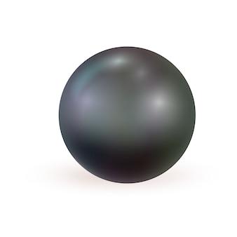 Perle noire réaliste isolée