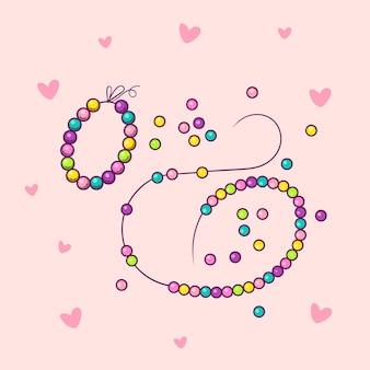Perles artisanales à la main création bijouterie illustration vectorielle isolée sur fond rose avec des coeurs.
