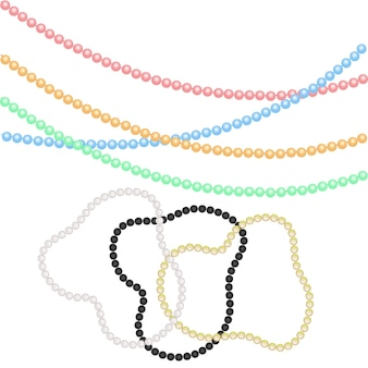 Perles et bracelets multicolores de perles pour un décor festif pour les vacances de noël, nouvel an. pour mardi gras, pour carnavals, fêtes.