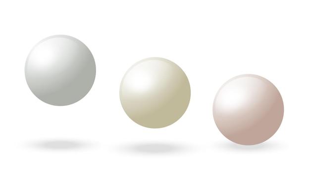 Perles d'huîtres sphériques boule réaliste de vecteur de sphère blanche d