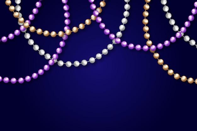 Perles de mardi gras réalistes
