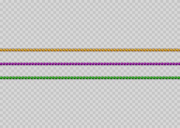 Perles multicolores sur fond blanc. belle chaîne de couleurs différentes.