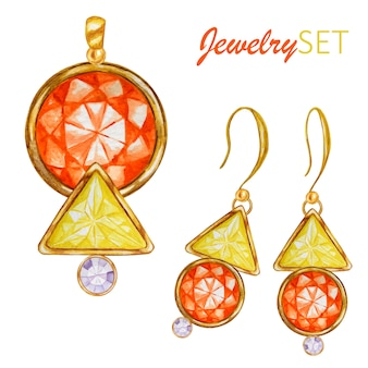 Perles de pierres précieuses en cristal triangulaire avec élément en or.