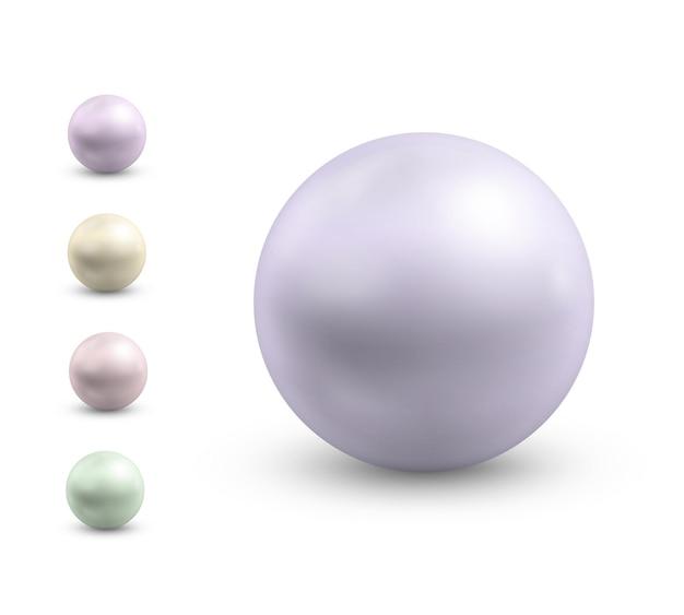 Perles réalistes boules rondes en métal nacre gemme précieuse