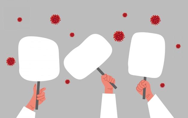 Permet d'arrêter le concept de coronavirus. mains humaines avec protestation de bannière de tablette.