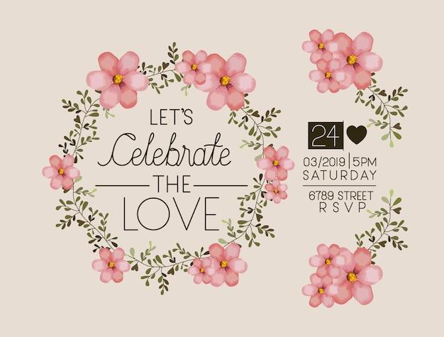 Permet de célébrer la couronne florale de la carte de l'amour