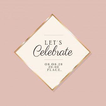 Permet de célébrer le texte dans un cadre doré d'invitation de mariage