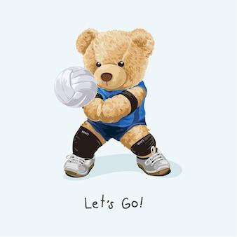 Permet de jouer le slogan avec l'illustration vectorielle athlétique de volley-ball de poupée d'ours