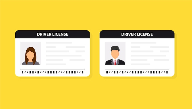 Permis de conduire. carte d'identité. icône de carte d'identité. modèle de carte de permis de conduire homme et femme. design plat d'illustration vectorielle.