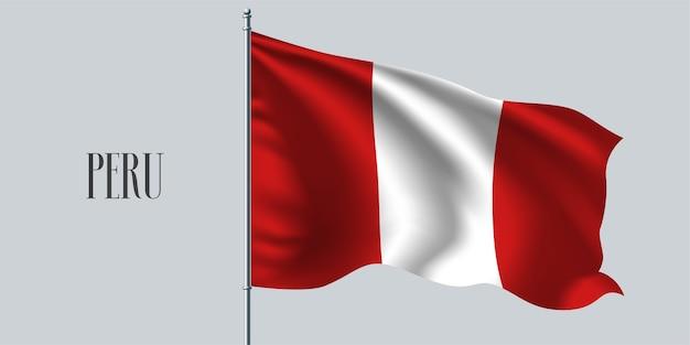 Pérou, agitant le drapeau sur l'illustration vectorielle de mât de drapeau. élément de conception rouge blanc du drapeau réaliste ondulé péruvien comme symbole du pays