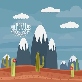 Pérou paysage montagnes, cactus, style cartoon, isolé, vecteur, illustration