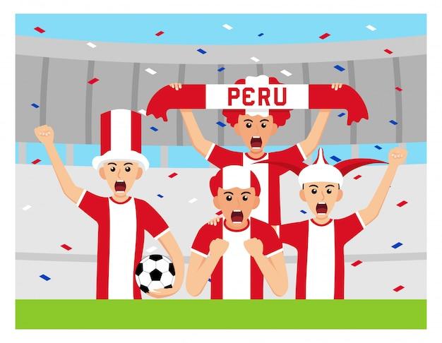 Pérou supporters en design plat