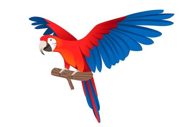 Perroquet adulte d'ara rouge et vert assis sur une branche et battant des ailes (ara chloropterus) dessin animé oiseau design plat illustration vectorielle isolée sur fond blanc.