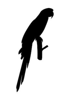 Perroquet adulte silhouette noire d'ara rouge et vert ara assis sur une branche (ara chloropterus) dessin animé oiseau design plat vector illustration isolé sur fond blanc.