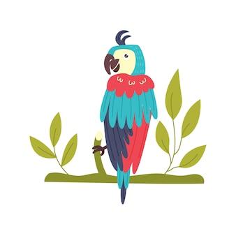 Perroquet coloré tenant une brindille