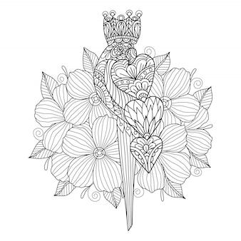 Perroquet dessiné à la main et coeur