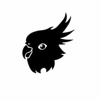 Perroquet logo symbole conception pochoir tatouage illustration vectorielle