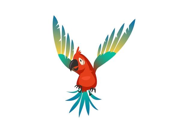 Perroquet mignon. oiseau de dessin animé de la belle jungle colorée, impression exotique à la mode de la faune isolée