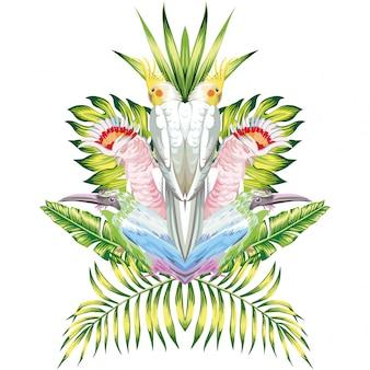 Perroquet miroir feuilles tropicales blanc