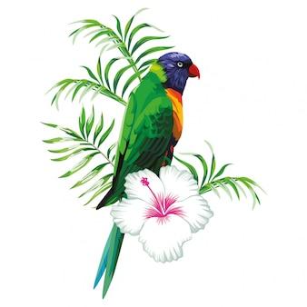 Perroquet vert avec des plantes