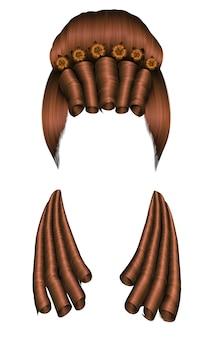 Perruque de femme cheveux bouclés. rococo de style médiéval, chignon de coiffure baroque.high avec des fleurs.