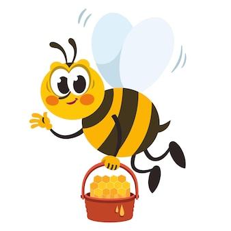 Personnage d'abeille de dessin animé tenant un panier de miel
