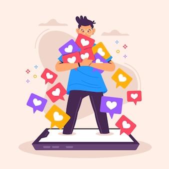 Personnage accro aux réseaux sociaux