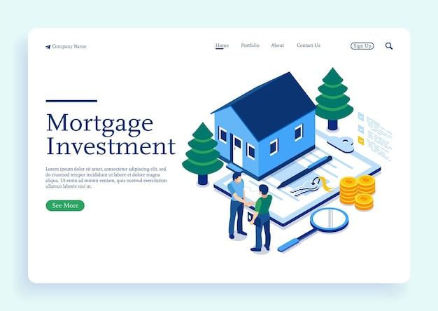 Personnage achetant une maison d'hypothèque et serrant la main d'agents immobiliers investissent de l'argent