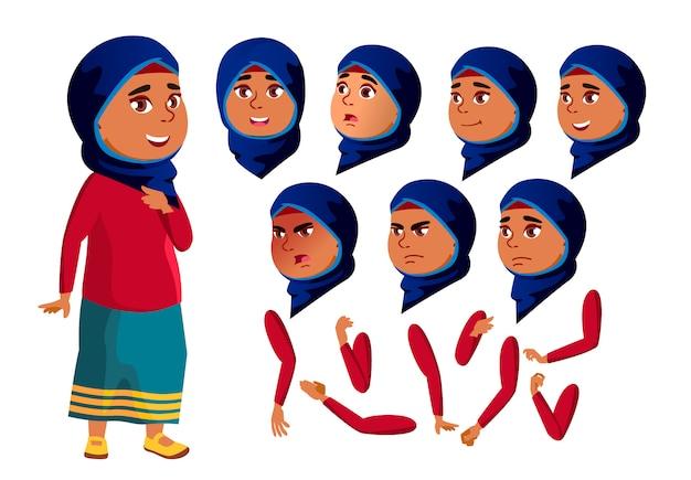 Personnage adolescente. arabe. création constructeur pour l'animation. face aux émotions, les mains.