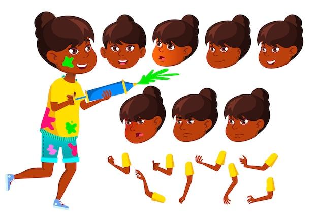 Personnage adolescente. indien. création constructeur pour l'animation. face aux émotions, les mains.