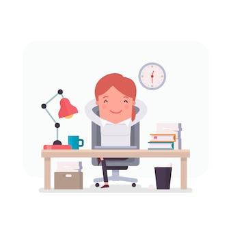Personnage d'affaires détendu au bureau