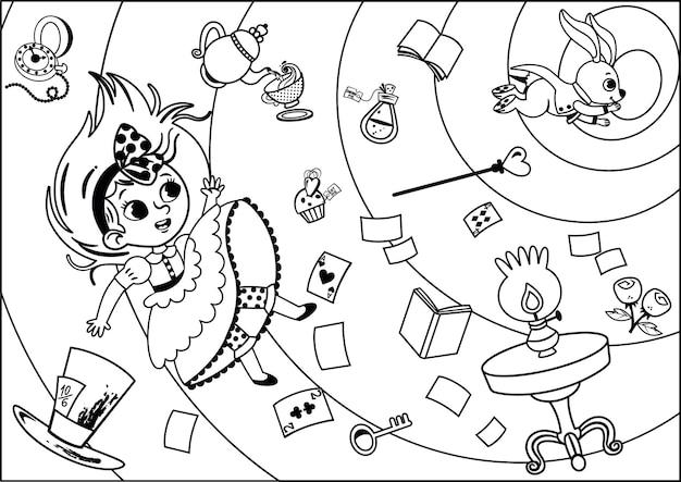 Le personnage d'alice en noir et blanc tombe dans le terrier du lapin activité de peinture pour les enfants