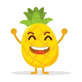 Personnage d'ananas mignon très heureux avec une jolie couleur