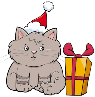 Personnage animal chat ou chaton de dessin animé avec cadeau le temps de noël