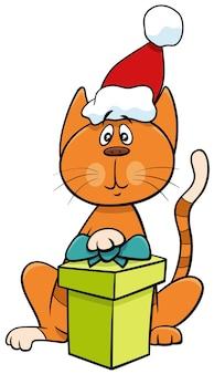Personnage animal de chat de dessin animé avec un cadeau le temps de noël