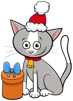 Personnage animal de chat de dessin animé avec cloche et cadeau le temps de noël