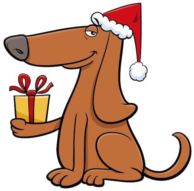 Personnage animal de chien de dessin animé avec cadeau le temps de noël