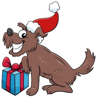 Personnage animal chien heureux de dessin animé avec cadeau le temps de noël