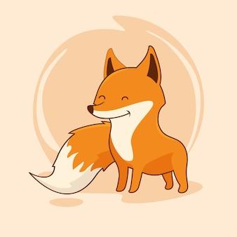 Personnage d'animal de dessin animé de renard mignon red fox kawaii